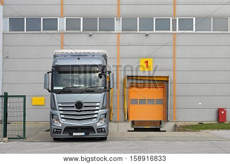 Loading Truck at Distribution Warehouse Cargo Dock