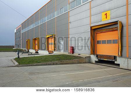 Loading Docks Cargo Doors at Distribution Warehouse