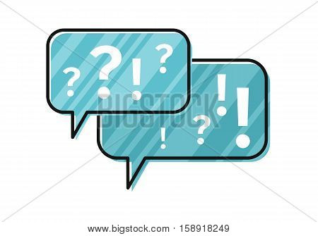 Blue dialog windows with exclamation and question marks. Dialog icon. Chat icon. Online communication element. Design element, sign, symbol, icon in flat. Isolated object on white background