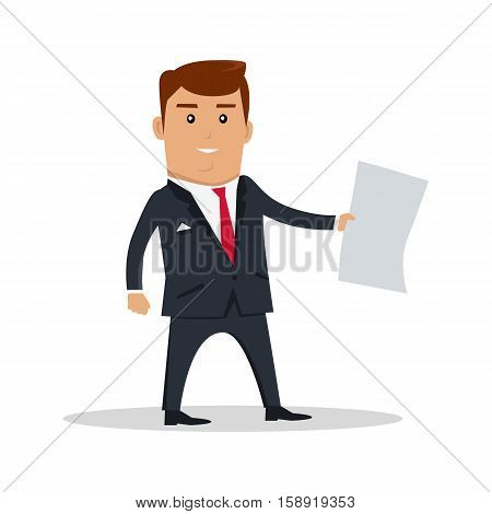 Male character with sheet of paper vector. Flat design. Man in business suit standing and holding sheet of clear white paper. Ad, job offer, paper work concept. Businessman with document. On white.