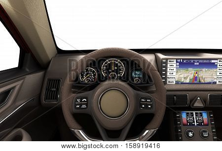 Front View Dashboard Of Modern Brand New Car With Windows 3D Illustration