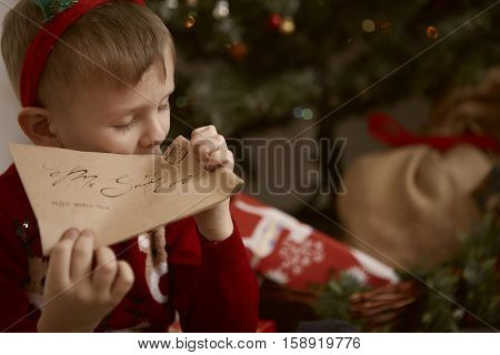 Boy wrote a letter to Santa