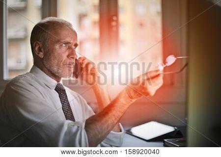 Guy working diligently