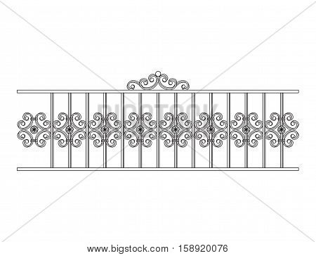 Black forged fence. Object isolated on white background