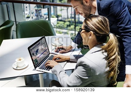 Business People Discussion Laptop Growth Success Concept