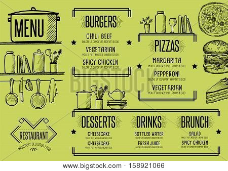 Restaurant menu placemat food brochure cafe template design. Vintage creative dinner flyer with hand-drawn graphic.