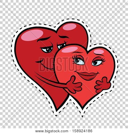 Love couple hug red hearts Valentines, pop art retro comic book illustration. Valentines day red hearts. male and female character