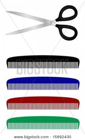 metal scissors and plastic comb