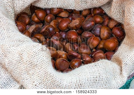 Fresh sweet chestnuts in the big sack at the Christmas market