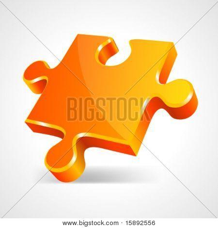 Orange puzzle 3d pie vector icon. Eps 10.