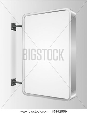 Vector city light billboard on wall with empty space for your message or illustration. Vector illustration Eps 10.