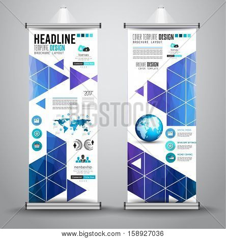Advertisement roll up business flyer or brochure banner with vertical design. Vector template for cover presentation with geometrical shape background. Ideal for modern x banner and flag banner.