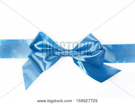 Blue gift bow with horizontal ribbon isolated on the white background