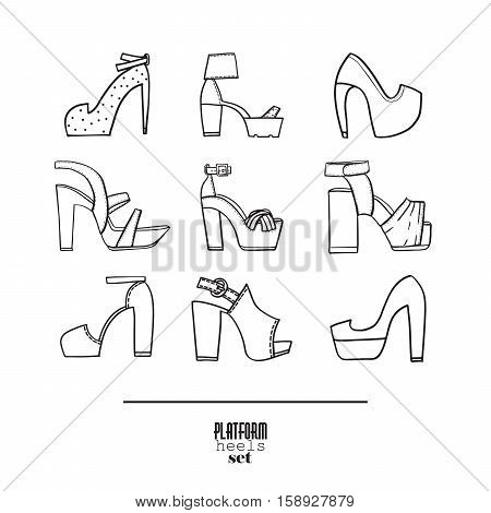 Lovely set with stylish fashion shoes hand drawn and isolated on white background. Vector illustration showing various platform heels shoes and sandals. Summer collection in black and white.