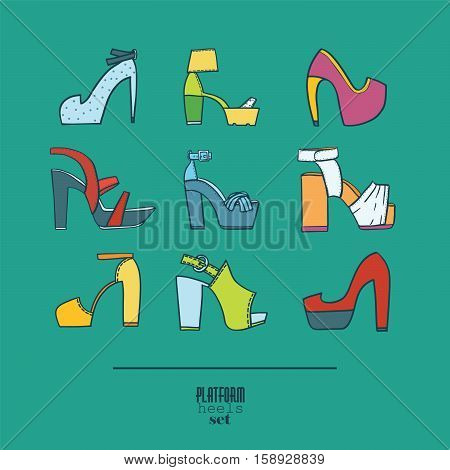 Lovely set with stylish fashion shoes hand drawn and isolated on background. Vector illustration showing various platform heels shoes and sandals. Summer collection with different decoration design.
