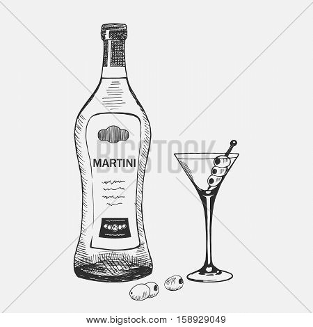 Hand drawn martini composition. Vector illustration. Martini set used for advertising beverage in restaurant or bar menu, for alcohol markets and logo design.