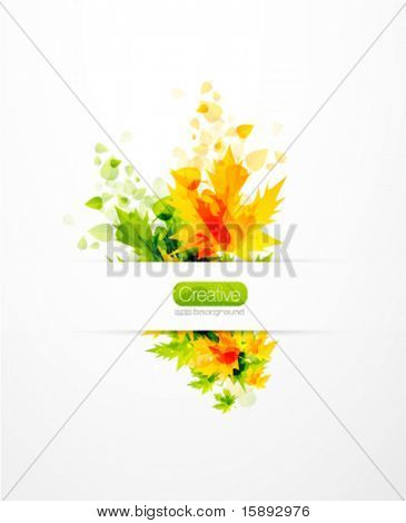 Vector flying summer abstract leaves. Summer nature background. Hot orange and green leaf design