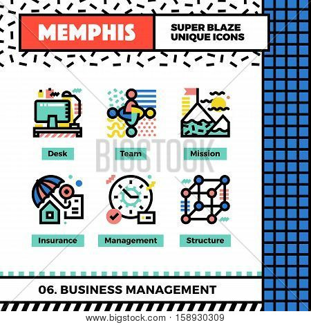 Business Management Neo Memphis Icons.