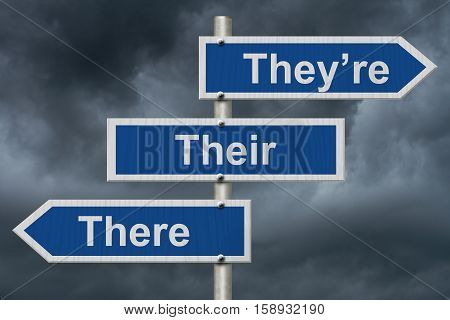Learning to use proper grammar Blue road sign with words They're Their and There with stormy sky background 3D Illustration