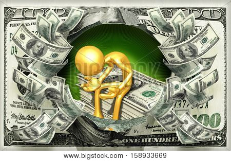 The Original 3D Character Illustration With Stack Of Money