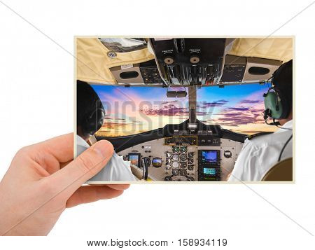 Hand and Plane image (my photo) isolated on white background
