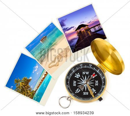 Maldives beach images and compass - nature and travel concept (my photos)