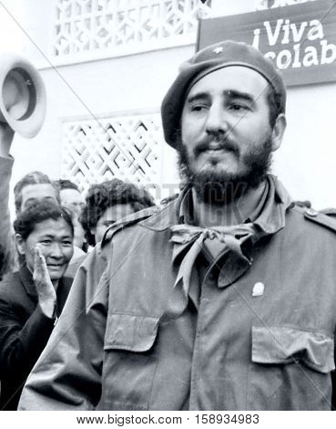 Yangiyer Uzbekistan - May 11 1963: Fidel meeting.
