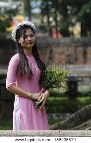 HANOI VIETNAM Octobre 23 2016 : Vietnamese students used to have photographs in the temple of Litterature dedicaded to Confucius. The temple hosts the Imperial Academy Vietnam's first national university since 1076.