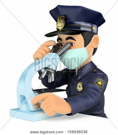 3d security forces people illustration. Scientific police analyzing forensic evidence with a microscope. Isolated white background.
