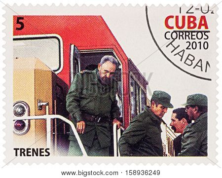 MOSCOW RUSSIA - NOVEMBER 26 2016: A stamp printed in Cuba shows Fidel Castro on the train series