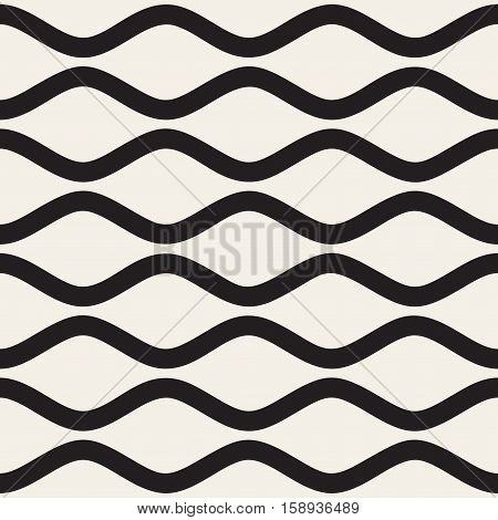 Vector Seamless Black and White Horizontal Wavy Stripes Pattern. Abstract Geometric Background Design.