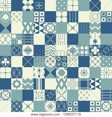 Seamless vector background in patchwork style with geometric patterns (tiling) of blue and ivory color. Endless texture can be used for pattern fills, surface and textile textures, wallpaper