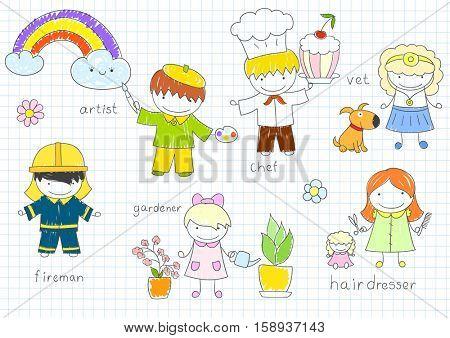 Happy children's in work wear - fireman, hairdresser, gardener, vet, artist, chef. Sketch on notebook page in doodle style