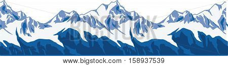 Snow-covered mountains ranges. SEAMLESS ENDLESS vector panorama illustration.