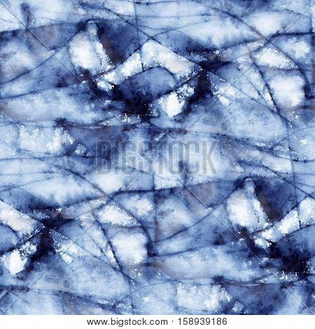 Abstract seamless pattern with watercolor spots of indigo color. Hand-drawn illustration.