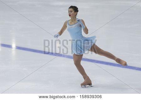 Minsk Belarus -November 19 2016: Unidentified Female Figure Skater performs Ladies Free Skating Program at Ice Star International Figure Skating competition in November 19 2016 in Minsk Republic of Belarus
