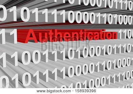 authentication in the form of binary code, 3D illustration