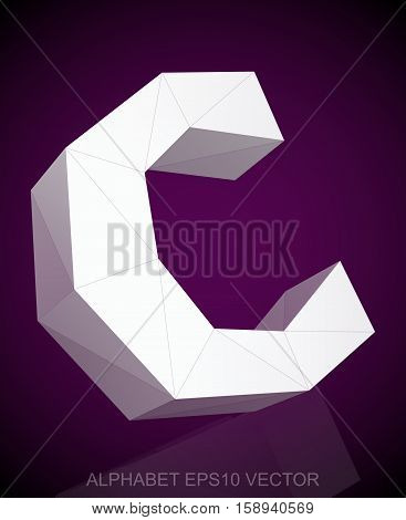 Abstract White 3D polygonal lowercase letter C with reflection. Low poly alphabet collection. EPS 10 vector illustration.