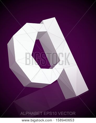 Abstract White 3D polygonal lowercase letter Q with reflection. Low poly alphabet collection. EPS 10 vector illustration.