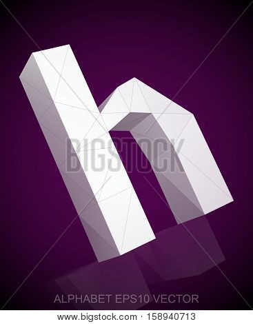 Abstract White 3D polygonal lowercase letter H with reflection. Low poly alphabet collection. EPS 10 vector illustration.