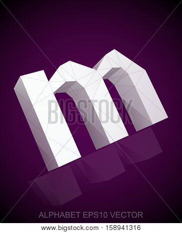 Abstract White 3D polygonal lowercase letter M with reflection. Low poly alphabet collection. EPS 10 vector illustration.