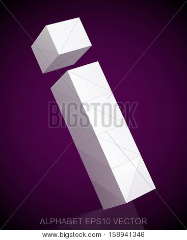 Abstract White 3D polygonal lowercase letter I with reflection. Low poly alphabet collection. EPS 10 vector illustration.