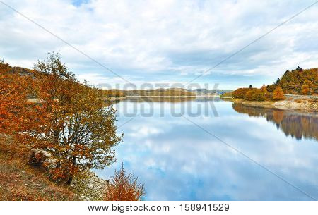 autumn landscape of lake Plastira Thessaly Greece