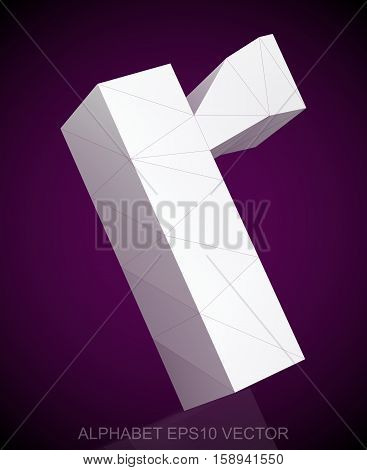 Abstract White 3D polygonal lowercase letter R with reflection. Low poly alphabet collection. EPS 10 vector illustration.