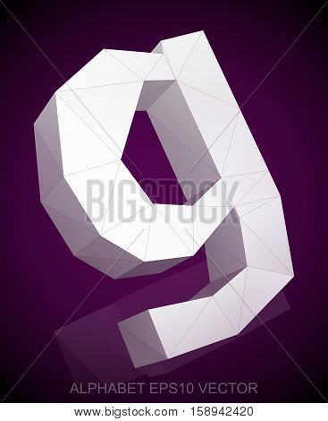Abstract White 3D polygonal lowercase letter G with reflection. Low poly alphabet collection. EPS 10 vector illustration.