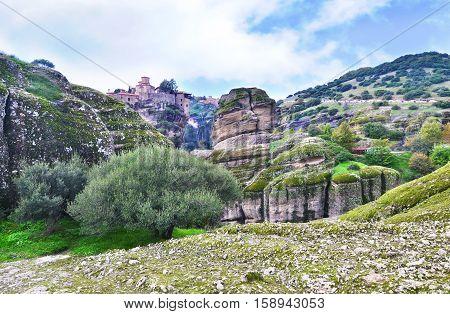 landscape of Meteora Greece - Orthodox religious places