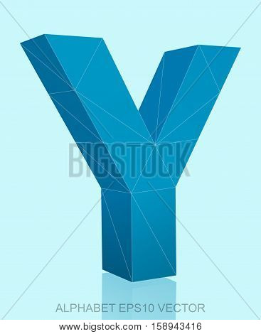 Abstract Blue 3D polygonal Y with reflection. Low poly alphabet collection. EPS 10 vector illustration.