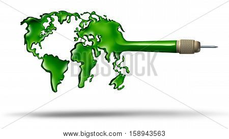 Global target Business concept and environmental and ecology protection symbol and world leadership icon as a dart shaped as europe africa asia north america south america unified together for a common international economic goal as a 3D illustration.