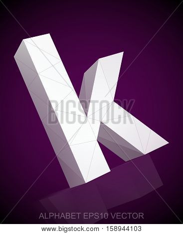 Abstract White 3D polygonal lowercase letter K with reflection. Low poly alphabet collection. EPS 10 vector illustration.