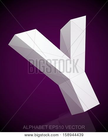 Abstract White 3D polygonal Y with reflection. Low poly alphabet collection. EPS 10 vector illustration.